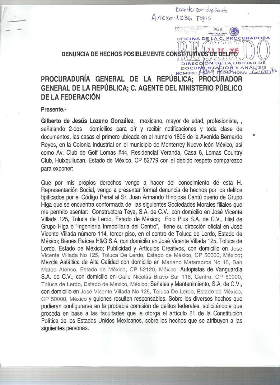 Denuncia ante la PGR del Grupo HIGA y complicidad de  EPN 001