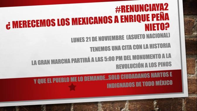 #EPN. Si vamos a arrojar la primera piedra, hacia la Gran Marcha nov. 21